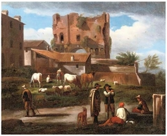 Figures conversing along a path with cattle grazing, the triumphal Arch of Janus Quadrifrons, Rome, in the background