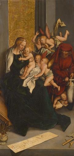 Heilige Familie mit Engeln