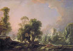 Idyllic Landscape with Woman Fishing