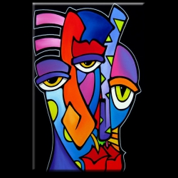 Imagination - Original Abstract painting Modern pop Art  Contemporary large huge colorful faces decor by Fidostudio