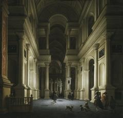 Interior of a Church at Night