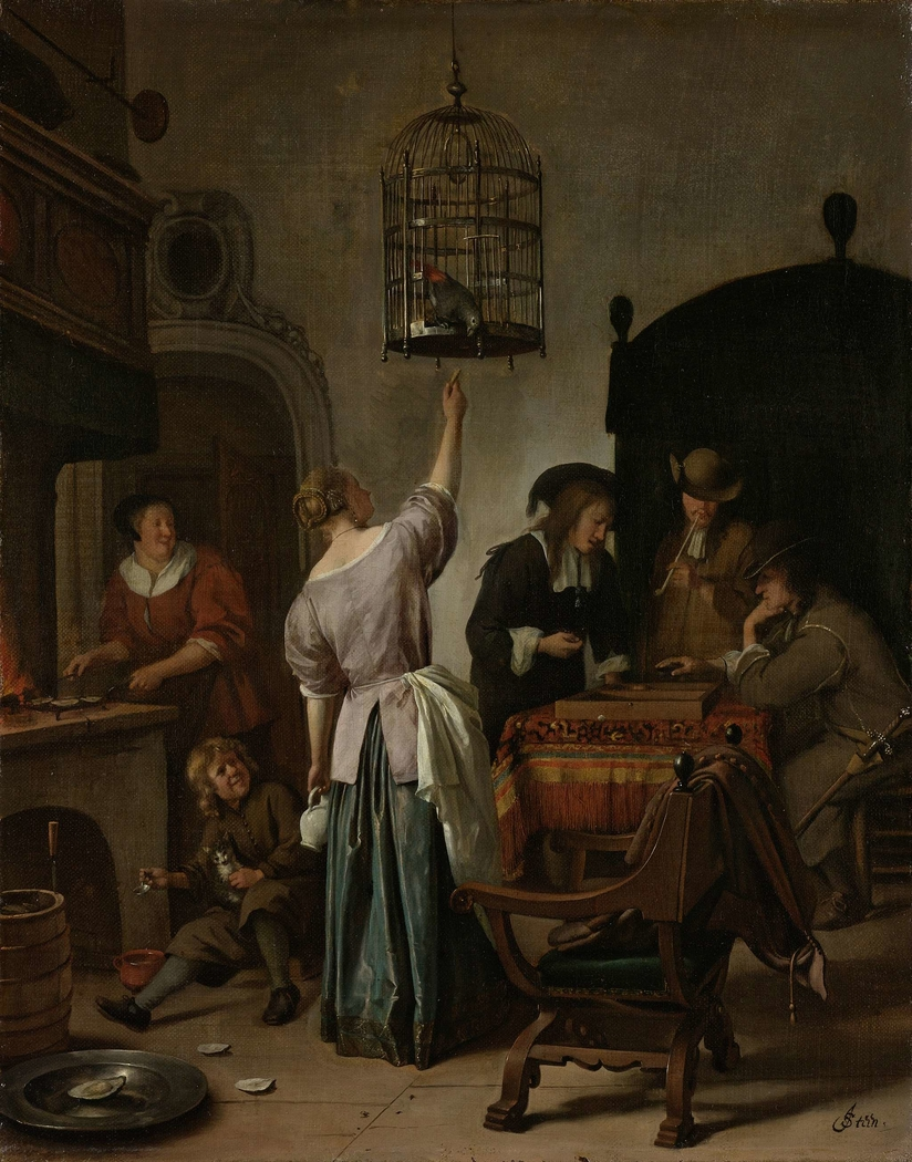 Interior with a Woman Feeding a Parrot, Known as 'The Parrot Cage'