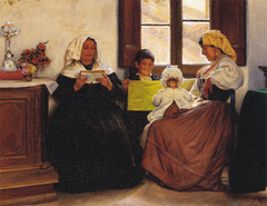 Italian Interior. Two Women and two Children at a Window