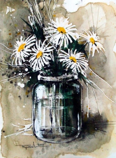 Jar with daisies