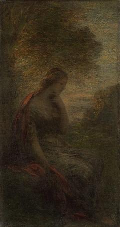 Jonge vrouw onder een boom bij zonsondergang, genaamd 'Herfst'
