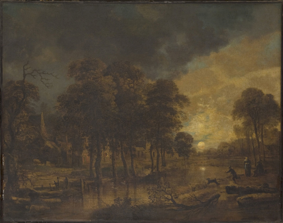 Landscape with a Brook and a Village in Moonlight
