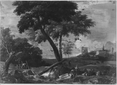 Landscape with a Rocky Stream, Peasants and Cattle
