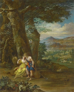 Landscape with shepherd couple