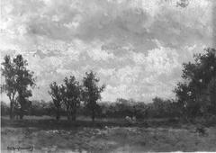 Landschap met bewolkte lucht
