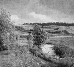 Landskab med en fiskende dreng ved en bæk