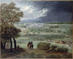 Le Château Neuf de Saint-Germain-en-Laye et les jardins, vus de la rive droite de la Seine ; lors de la reconstruction de la grande terrasse et du grand parterre, entre le 1er mars 1664 et le 17 mars 1665.