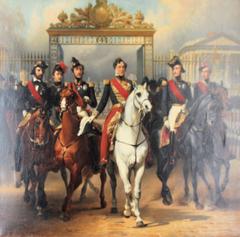 Le roi Louis-Philippe escorté de ses fils sort à cheval par la grille dorée de la grande cour du palais de Versailles