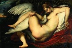 Leda and the swan embracing