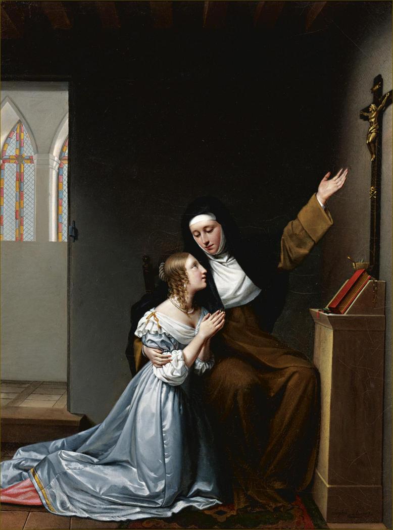Madame de la Vallière giving instruction in piety to her daughter Mlle. De Blois