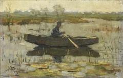 Man in een roeiboot