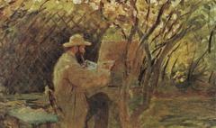 Manet painting in Monet's Garden in Argenteuil.