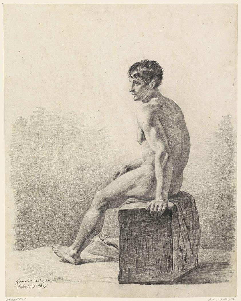 Mannelijk zittend naakt