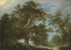 Oak forest with hunting scene