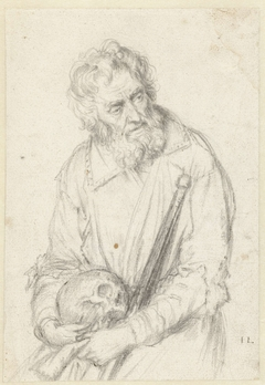 Old Man with Skull and Staff