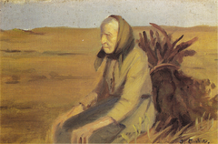 Old woman (Laurendse) with a bunch of twigs