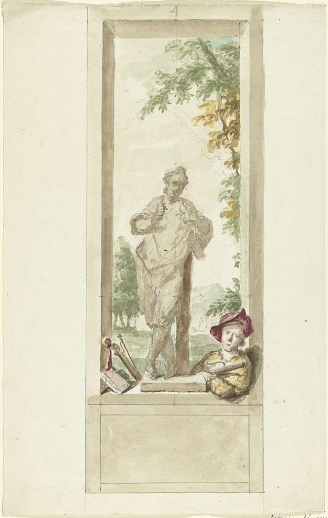 Ontwerp voor een zaalstuk: standbeeld van zintuig Gehoor, daarnaast een jongeman met muziekinstrumenten