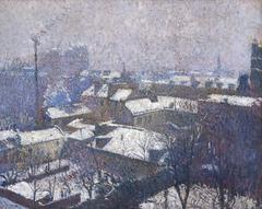 Paris roofs under the snow