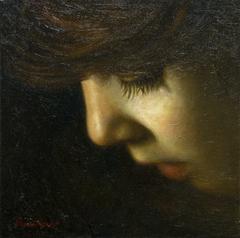 """""""PORTRAIT, little girl"""" 30 x 30 cm, oil on canvas."""