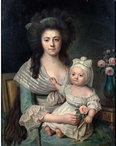 Portrait of Mrs G.G. Delamalle born A. G. L. Sarraire and her son Jean-François