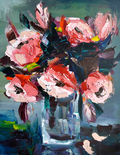 Red flowers, Oil