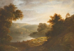 River Landscape with Sheep on Near Bank and Boat House on Far Bank