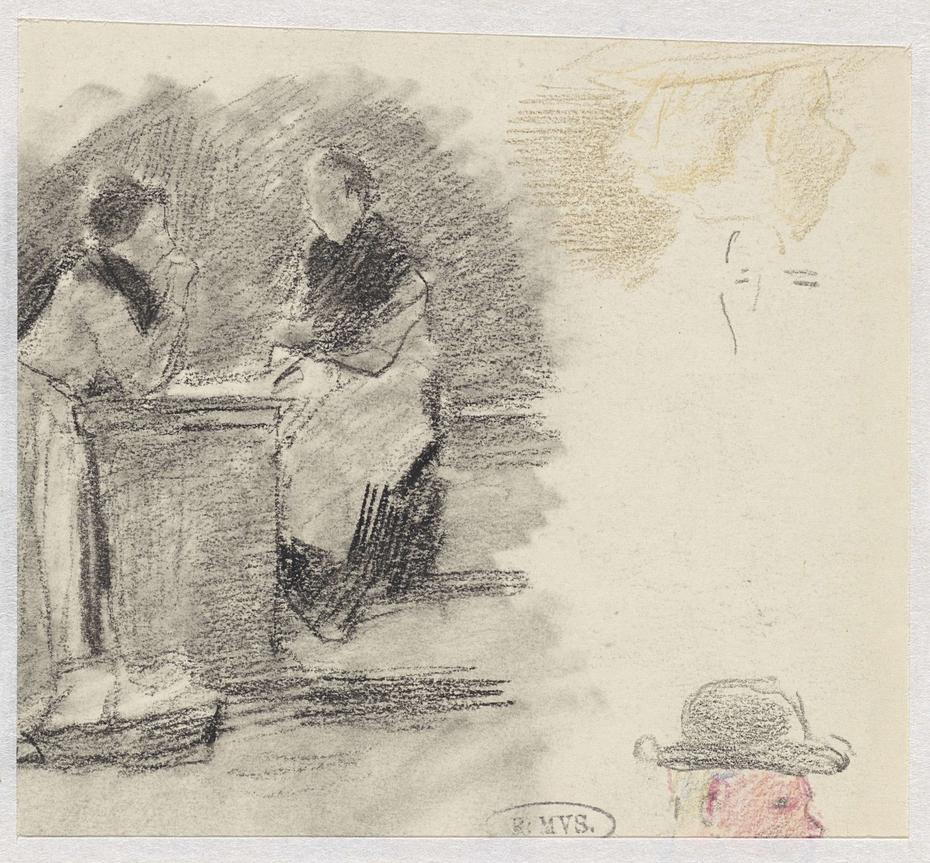 Schetsen van twee vrouwen en een manskop