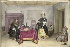 Sijbrant Schellinger en Jenneken ter Borch met twee kinderen in een interieur
