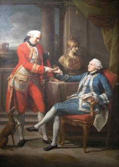 Sir Sampson Gideon and an unidentified companion