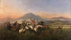 Six Horsemen Chasing Deer