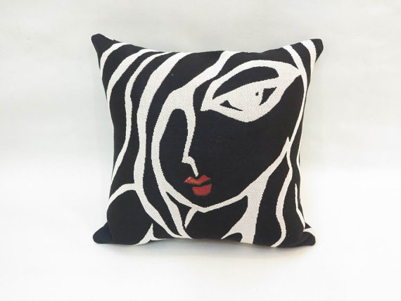 Sleepy Head - Black and white custom throw pillow cushion - Modern Abstract Pop Art by Fidostudio