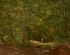 Spaziergänger in einer Waldlandschaft