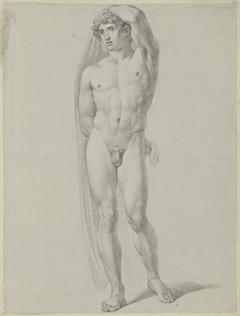 Staand mannelijk naakt, van voren, een doek achter de rug houdend