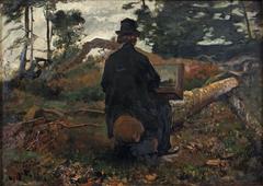 The painter Frederik Hendrik Kaemmerer at work in Oosterbeek