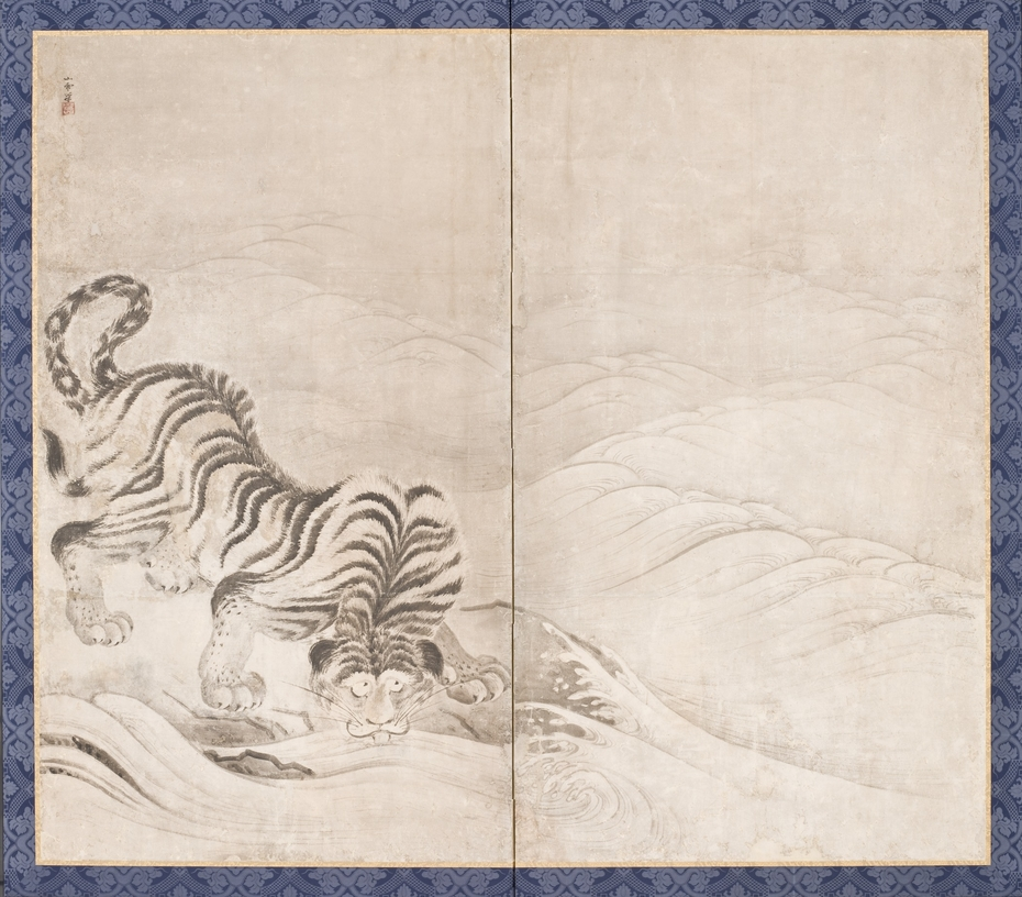 Tiger Drinking from a Raging River