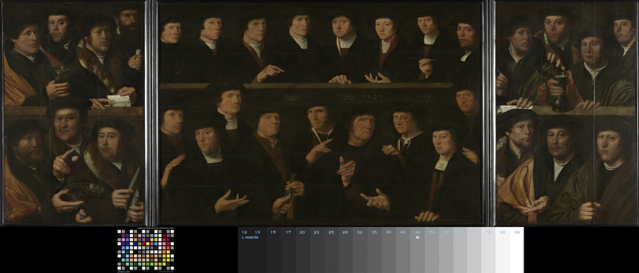 Triptych with guardsmen of the Amsterdam Kloveniersdoelen (headquarters of the arquebusiers' civic guard)