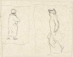 Twee schetsjes van lopende figuren