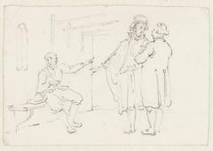 Twee staande mannen bij een zittende man