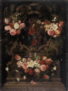 Flower garland with Immaculate Conception