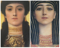 Ancient Greece and Ancient Egypt, detail heads of Athena and Isis