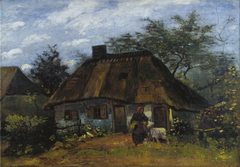 Cottage and Woman with Goat / Farmhouse in Nuenen (La Chaumiére)