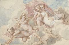 Venus met Amor en putti