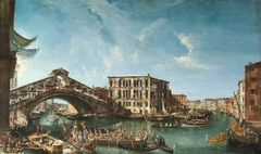 View of the Rialto Bridge and the Palazzo dei Camerlenghi with the festive entry of the Patriarch Antonio Correr in 1737