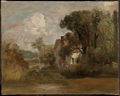 Willy Lott's House (recto); Landscape Sketches with Trees and Church Tower (verso)