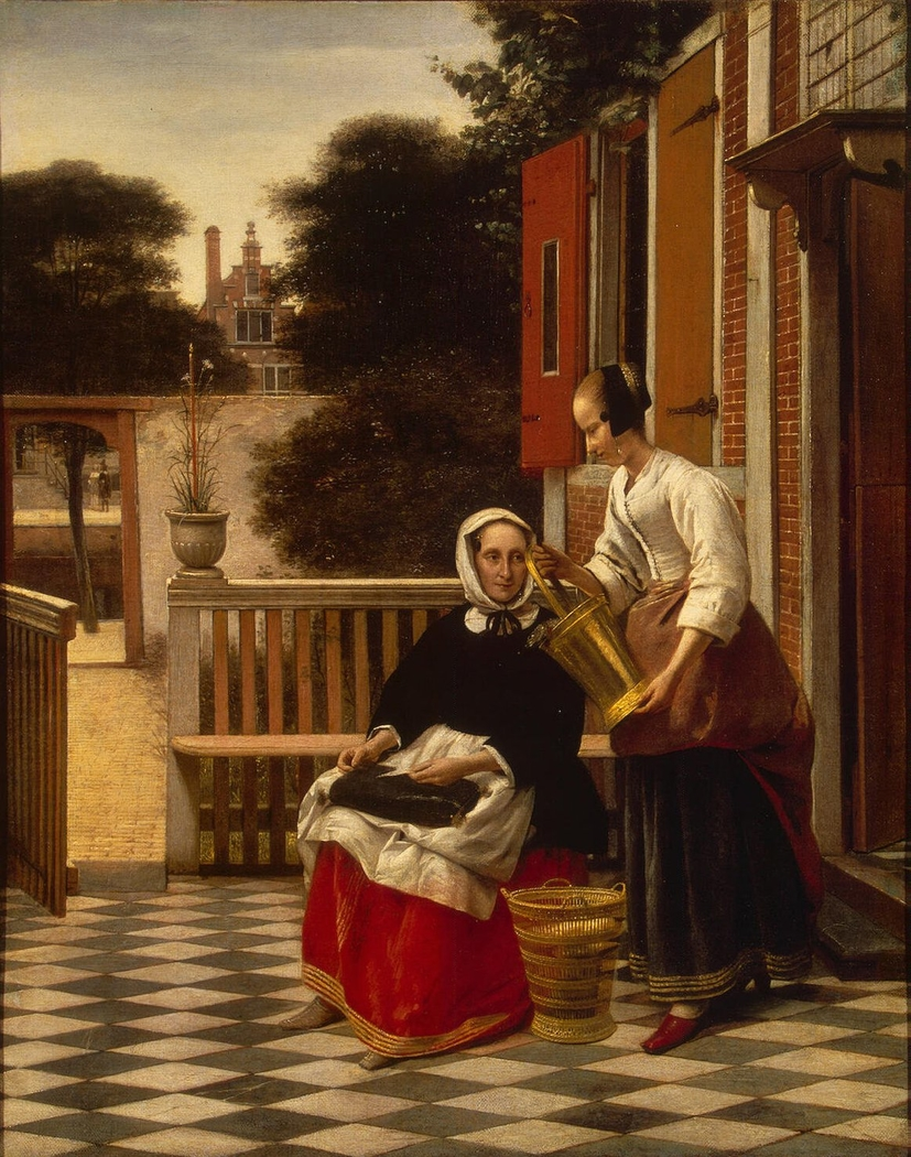 Woman and a maid with a pail of fish in a courtyard