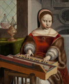 Young Woman Playing a Clavichord